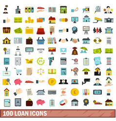 100 loan icons set flat style vector
