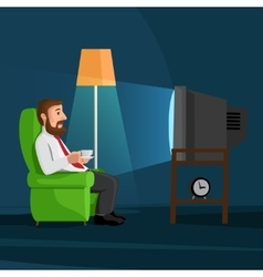 Cartoon man on sofa watches tv vector