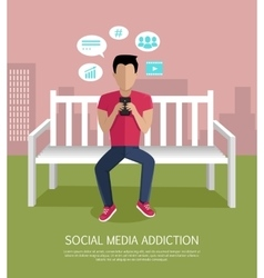Social media addiction concept vector