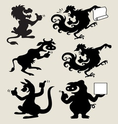 Thumbs up animal silhouettes set 2 vector image