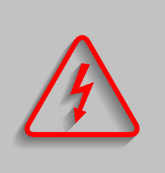 High voltage danger sign  red icon with vector