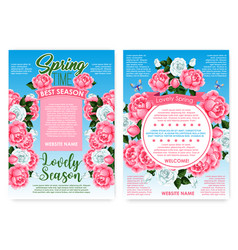 Posters rose flowers for spring holiday greetings vector