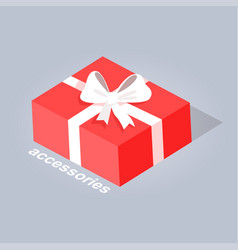 Gift with white ribbon and bow flat design vector