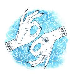 Mudra yoga elegant female hands with boho tattoos vector