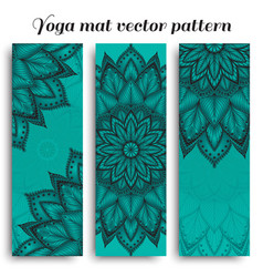 Set of blue yoga mat pattern vector