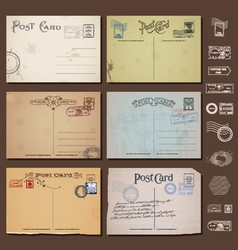 Antique postcards collection vol 1 vector