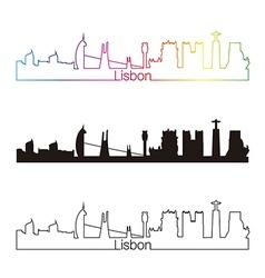 Lisbon skyline linear style with rainbow vector image