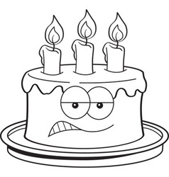 Cartoon angry birthday cake vector