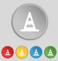 Road cone icon sign symbol on five flat buttons vector