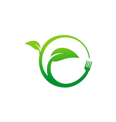 Green leaf eco food vegetarian logo vector