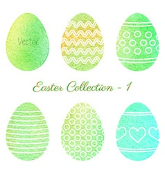 Set of watercolor easter elements vector