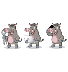 Gray wild pig mascot with laptop vector