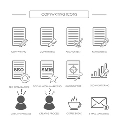 Black and white icons of copywriting vector