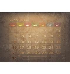 antique calendar of June vector image