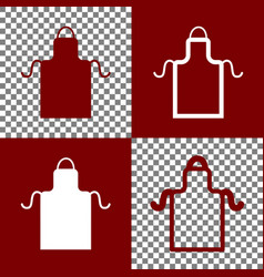 Apron simple sign bordo and white icons vector
