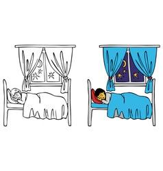 Baby sleeping in bed vector