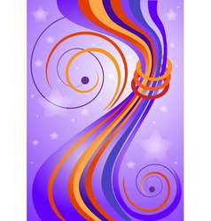 Bright curved stripes on purple background vector image vector image