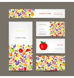 Business cards design fruit background vector image vector image