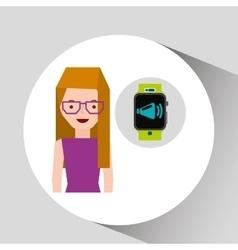 Cartoon girl smart watch app megaphone design vector