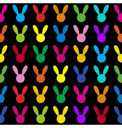 Colorful Rabbit Black Background vector image