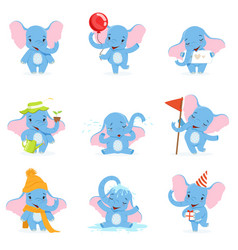cute elephant character set funny baby elephant vector image vector image