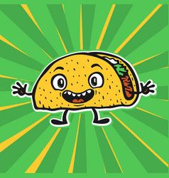 cute funny cartoon taco vector image vector image