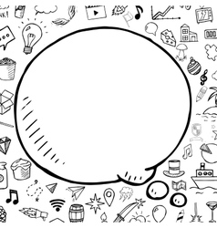 Doodle speech bubble with objects hand vector image
