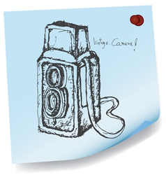 drawing of vintage camera on sticky paper vector image vector image