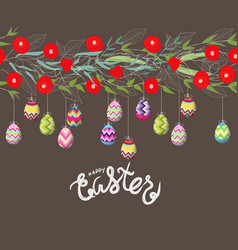 Easter eggs hanging on the florals vector