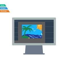 Flat design icon of photo editor on monitor screen vector