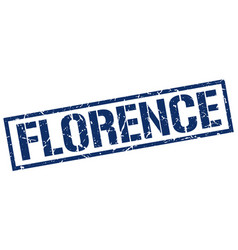 Florence blue square stamp vector