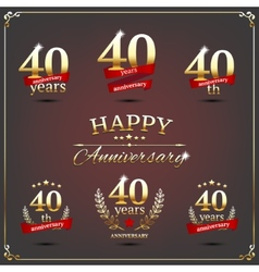 Forty years anniversary signs collection vector