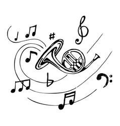 french horn with notes vector image vector image