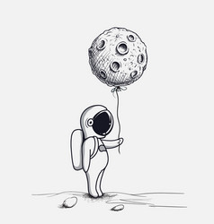 funny astronaut keeps abstract balloon like a moon vector image vector image