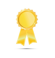 Gold seal award ribbon on white background vector