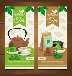 Green matcha tea vertical banners vector