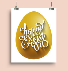 Handwriting lettering happy easter on the placat vector