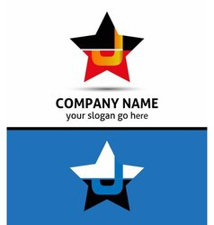Letter J logo with star icon vector image vector image