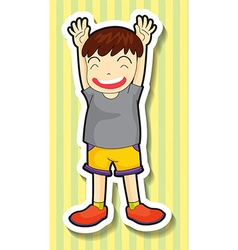 Little boy having both hands up vector