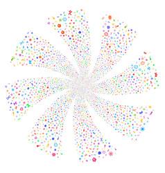 Microbes fireworks swirl flower vector