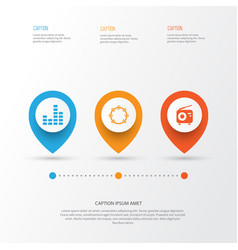Multimedia icons set collection of equalizer vector