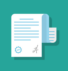 paper document confirmed by seal or stamp and vector image vector image