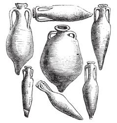 Roman vases vintage engraving vector image