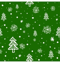 seamless doodle with snowflakes and tree vector image