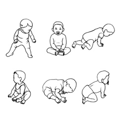 set of doodle children vector image