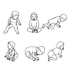 set of doodle children vector image vector image