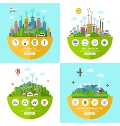 Set of flat ecology concept vector image vector image