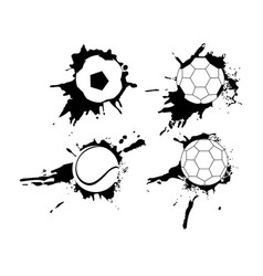 Set of hand drawn grunge banners with soccer ball vector
