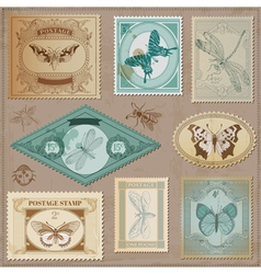 Set Vintage Post Stamps vector image vector image