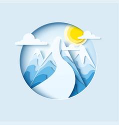 Ski slopes paper cut banner vector